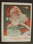 1944 Chesterfield Cigarettes with Santa Claus