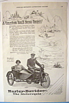 1924 Harley Davidson Motorcycle with Man & Woman