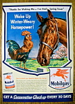 1943 Mobil Gas & Mobil Oil with Horse & Rooster