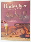 1958 Budweiser Beer with Woman Listening to Music