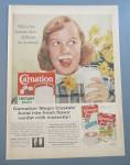 1958 Carnation Instant Dry Milk w/Girl & Milk Moustache