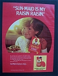 1984 Sun-Maid Raisins with Boy Holding a Piece of Bread