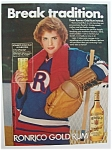 1982 Ronrico Gold Rum with a Woman Holding a Drink
