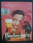 1958 Budweiser Beer with Woman Holding a Mask