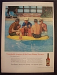 1959 Four Roses Whiskey with Four Men on Raft in Pool