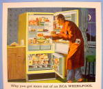 Click to view larger image of 1959 RCA Whirlpool Refrigerator with Man Having A Snack (Image2)