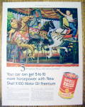 1955 Shell X-100 Motor Oil with Kids on Merry Go Round