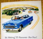 Click to view larger image of 1955 Chevrolet with Man & Woman Driving In Chevy (Image2)