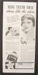 1937  Calox  Tooth  Powder  with  Claudette  Colbert