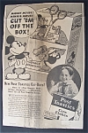 Click here to enlarge image and see more about item 6035: 1934  Post  Toasties  with  Mickey  Mouse
