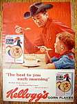 Click to view larger image of 1960 Kellogg's Corn Flakes with Man Looking at a Boy  (Image1)