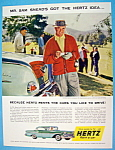 Click to view larger image of Vintage Ad: 1958 Hertz Rent A Car with Sam Snead (Image1)