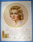Click to view larger image of Vintage Ad: 1961 Breck Hair Set Mist w/ Breck Woman (Image1)