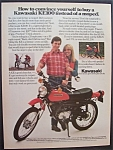 1980 Kawasaki Motorcycle w/Man & Woman Behind Bike
