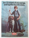 1981 Levi's Youthwear with Boy Standing with Dog