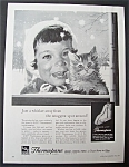 1959 Thermopane Insulating Glass w/Kitten Held by Girl