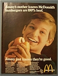 1969 Mc Donald's Restaurant with Boy Eating Hamburger