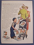 Click here to enlarge image and see more about item 7886: 1955 Kellogg Corn Flakes w/Boy & Cart (Stevan Dohanos)