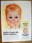 1961 Northern Towels with Boy's Head Resting In Hands