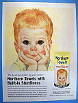 Click to view larger image of 1961 Northern Towels with Boy Resting Head In Hands (Image1)