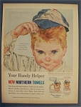 1961 Northern Towels with Boy Putting On Baseball Cap