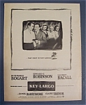 1948 Movie Ad For Key Largo with Bogart & Bacall