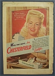 1944 Chesterfield Cigarettes with Betty Grable