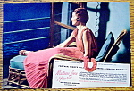 1937 Matson Line To Hawaii with Woman on Boat's Deck