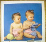 Click to view larger image of 1952 Bernat Baby Yarns with 2 Babies Playing with Yarn (Image2)