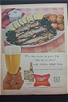 1957 Miller High Life Beer w/ Plate of Fish & Potatoes