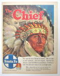 1954 Santa Fe with Indian Chief Wearing Head Dress