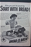 1943 Bread Is Basic with Woman Packing Lunch