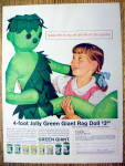 VIntage Ad: 1962 Jolly Green Giant Rag Doll