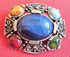Vintage Celtic Brooch or Pin / Pendant Polished Stones