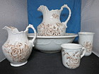Floral Brown Transferware Ironstone Pitcher Bowl Tumbler Cup 5pc