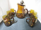 Amber Glass Pitcher and Mug Asymmetrical set Spain Mid Century