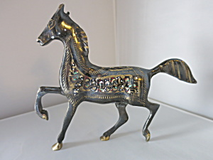 Brass horse etched hand painted figurine (Image1)