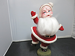 Vintage Dancing Santa Clause Flocked Felt Vinyl Face