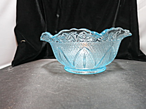 Vintage Sandwich Glass Bowl Scalloped Flared Rim 7 1/2