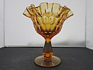 Fenton Art Glass Amber Thumbprint Compote (Image1)
