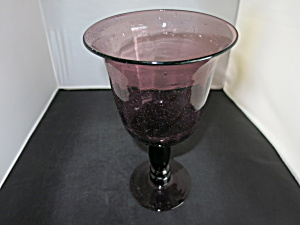 Vintage Large Blown Glass Goblet Purple Amethyst