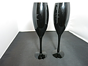 Black Amethyst Purple Champagne Footed Glass Flutes