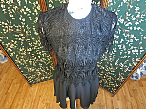 Vintage Night Way Black Flapper Formal Dress Size 4