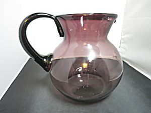 Purple Amethyst Blown Glass Pitcher Applied Handle