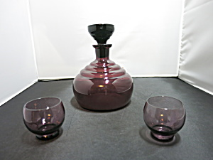 Vintage Art Glass Decanter Glasses Cordials Set Of 3