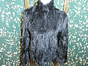 Vintage Wilsons Leather Maxima Black Rabbit Fur Jacket  (Image1)