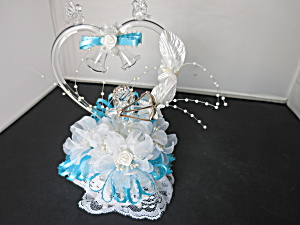 Vintage Blown Glass Cake Top Heart Bells Doves Angel