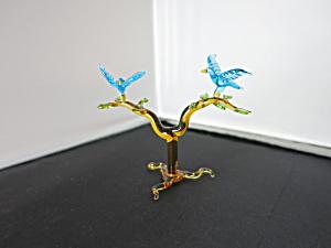 Vintage Miniature Blown Glass Blue Birds on Branch (Image1)