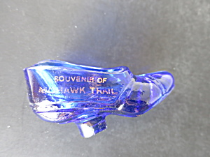 Souvenir Of Mohawk Trail Cobalt Blue Glass Shoe