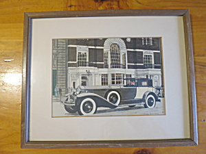 Phantom Rolls Royce colored lithograph 1928 signed  (Image1)